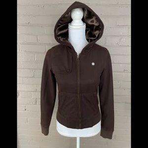 Obey Brown faux suede zip front Hoodie jacket S